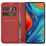 Leather Wallet Case & Card Holder Pouch for Xiaomi Mi Mix 3 5G - Red